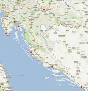 Puntos de alquiler coche en Croacia